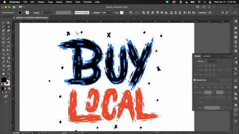 """Text reading """"Buy Local"""" in black and red on Adobe Illustrator"""