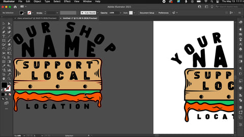 Two print shop designs, one ready for printing