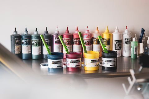 table full of ink