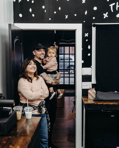 Josh and his family in the studio
