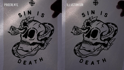 Side by side comparison of transparencies printed from Procreate (left) and Adobe Illustrator (right)