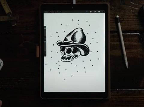 a skull wearing a cowboy hat design on an ipad