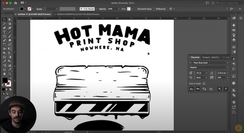 illustrator with a squeegee and text that says hot mama print shop