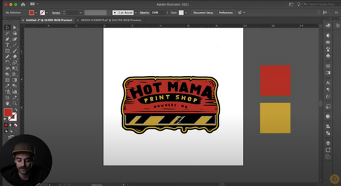 orange and yellow squeegee design in illustrator that says hot mama print shop