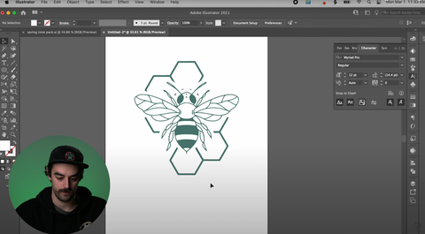 A bee sitting on top of a honeycomb in Adobe Illustrator