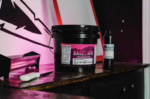 baselayr long lasting emulsion and diazo on a table next to a scoop coater