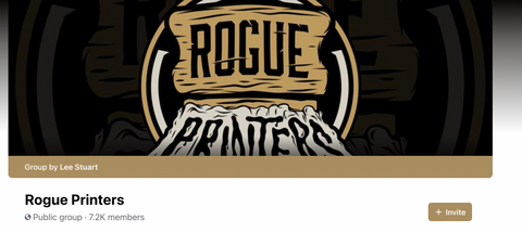 The logo for the Rogue printers facebook group.
