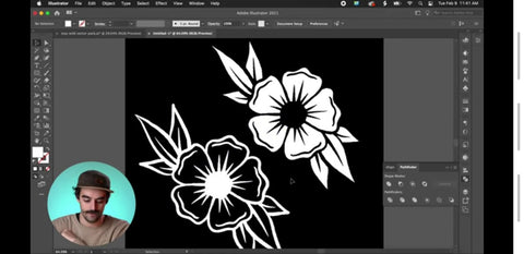 a white outline of a flower next to its inverted version in adobe illustrator