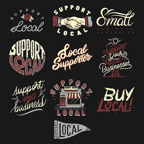 A pack of 10 designs supporting local businesses