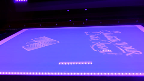 a screen on an exposure unit with the purple led lights on
