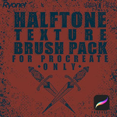 Halftone texture brush pack for procreate