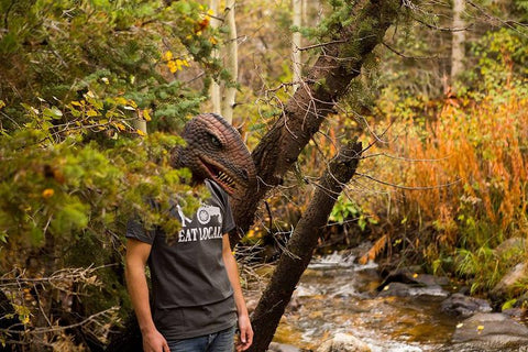 person wearing a dino mask out in the forest
