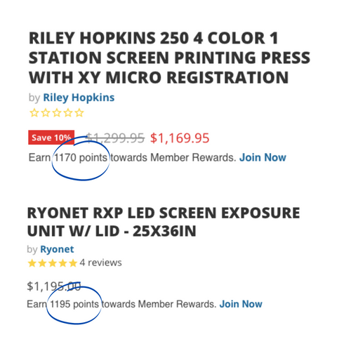 points earned for buying the 250 press and rxp exposure unit