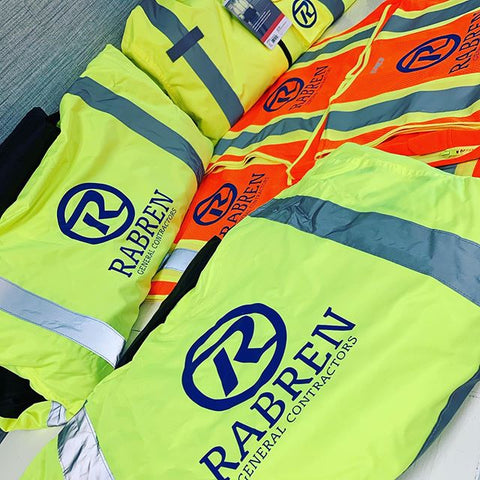 printed construction vests