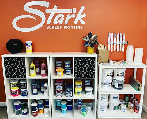 wall of ink and supplies