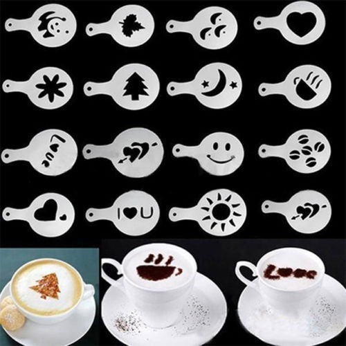 DealsOcean 16Pcs  Mold Coffee Milk Cake Cupcake Stencil Template Coffee Barista Cappuccino Template Strew Pad Duster Spray Tools