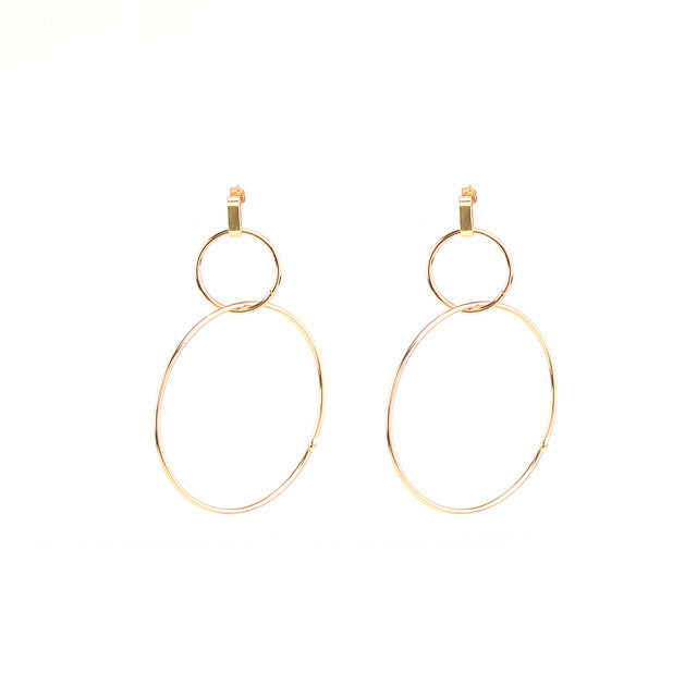 Street Style Large Double Earrings Fashion 2017 Geometrical Jewelry Silver Color Double Circle Earrings for Women
