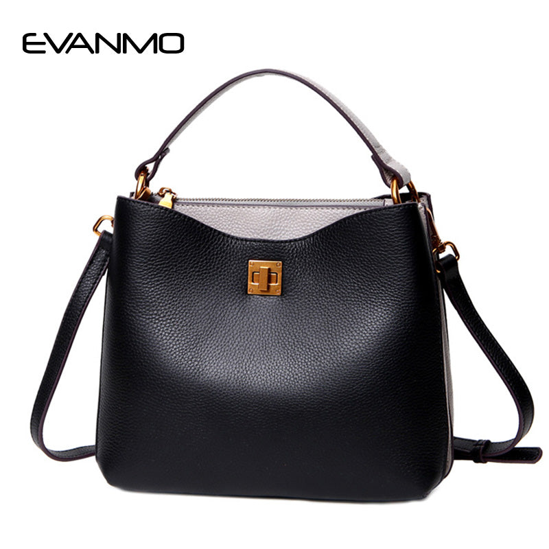 Hot Sale Soft Genuine Leather Women Bucket Bag Leather Gold Lock Brand Work Handbag Women Bucket Bag Chain Purse Elegant Handbag