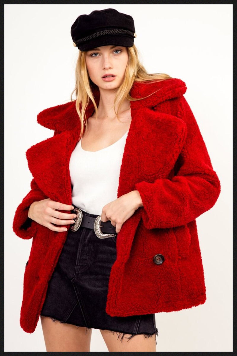 New Arrival Red Teddy Fur Coat!