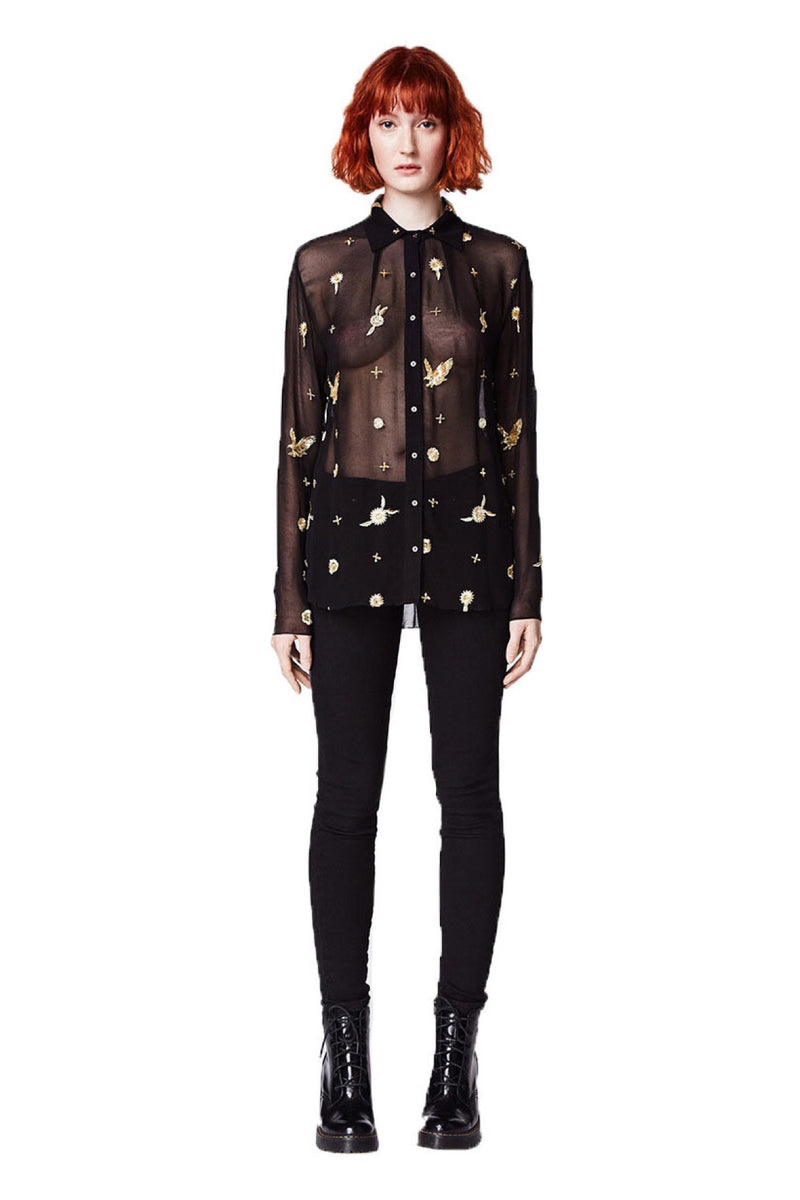 Available Now - Nicole Miller Embellished Boyfriend Blouse