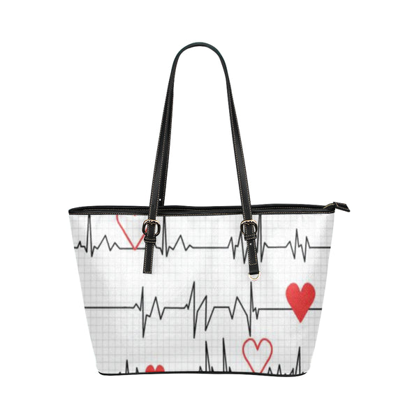 Ekg Leather Tote Bag/small (Model 1651) - Leather Tote Bag/small