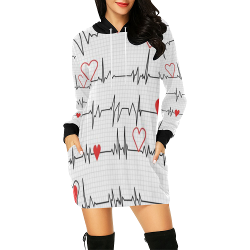 Ekg Hoodie All Over Print Hoodie Mini Dress (Model H27) - All Over Print Hoodie Mini Dress (H27)