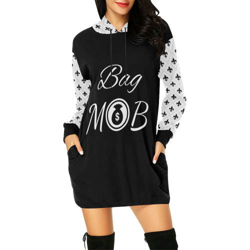 Bag MOB All Over Print Hoodie Mini Dress (Model H27) - Bag-n-Go