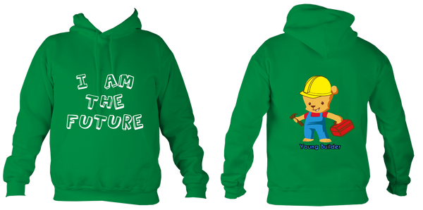 Young Builder Hoodie - Kelly Green / 1-2Yrs (24 Inch Chest) - Childrens College Hoodie