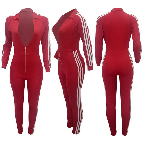 Sexy Solid Turn-Down Collar Zippers Full Sleeves Jumpsuit - Red / S