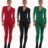 Sexy Solid Turn-Down Collar Zippers Full Sleeves Jumpsuit
