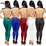 Vazn 2018 New Style Brand Fashion Bodycon Jumpsuit Sexy Backless Club Wear Women Sleeveless Full Length Jumpsuit Xm6044