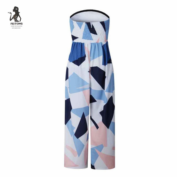 Women Jumpsuit Pants 2017 Fashion Off Shoulder Jumpsuit Sleeveless Floral Printed Playsuit Party Trousers#lreo - White / L / China