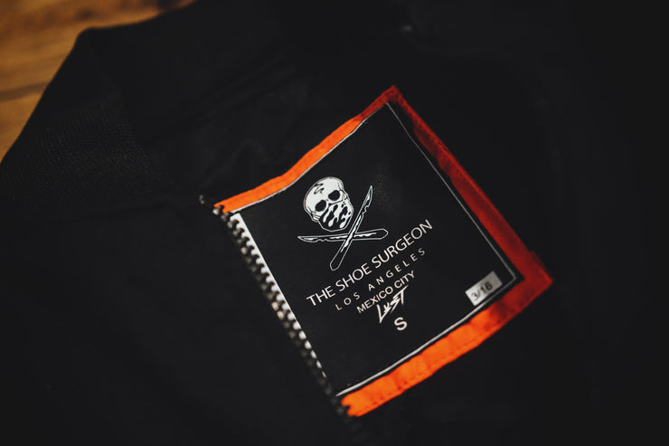 LUST X THE SHOE SURGEON BOMBER JACKET BLACK-ORANGE - [color] - [sku] - Lust México