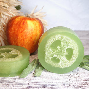 luffa soap, apple soaps, natural soap, apple sage. fall scents, fall scented soaps