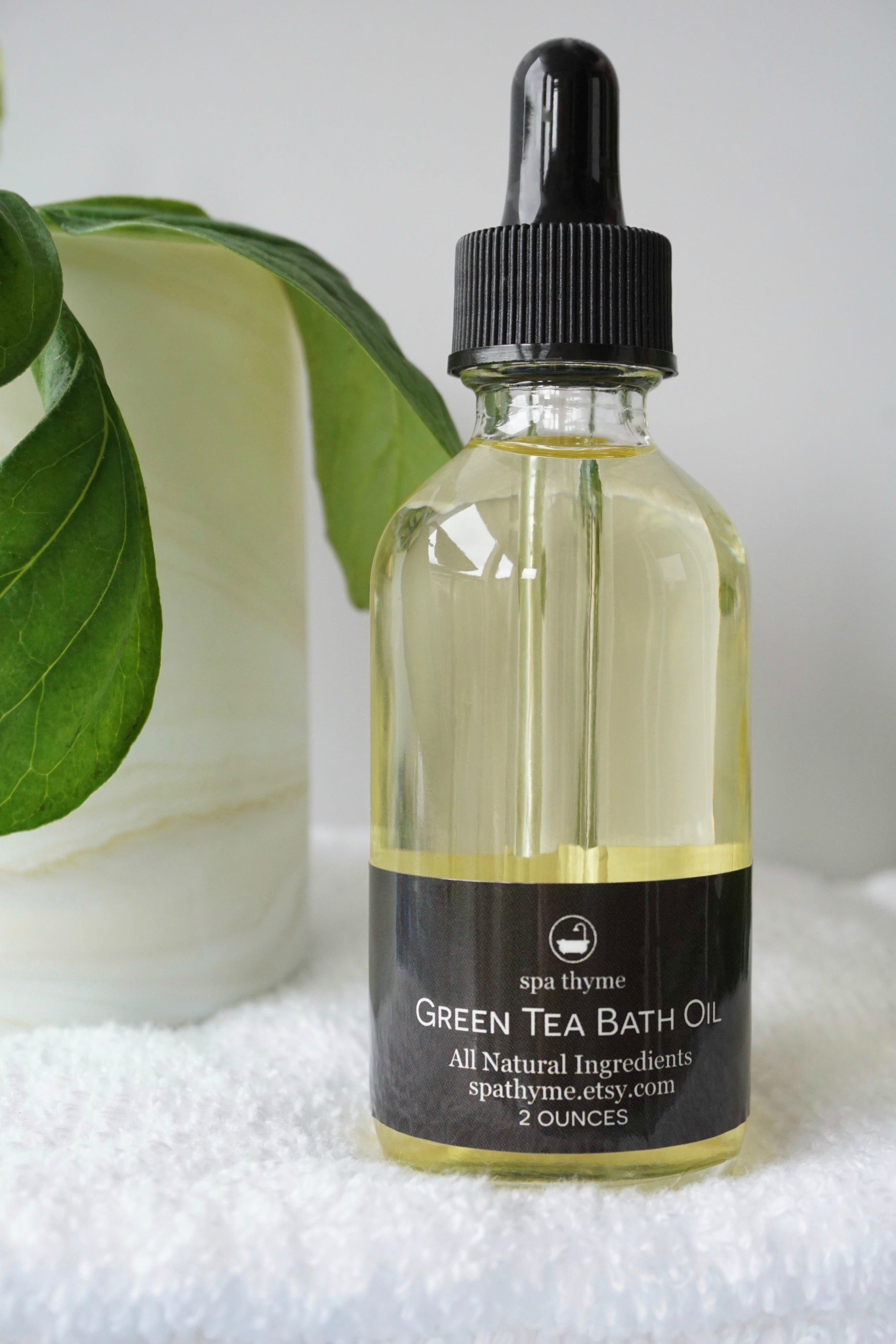 Bath oil - green tea bath oil - tea gifts - soothing bath oils - natural bath oil