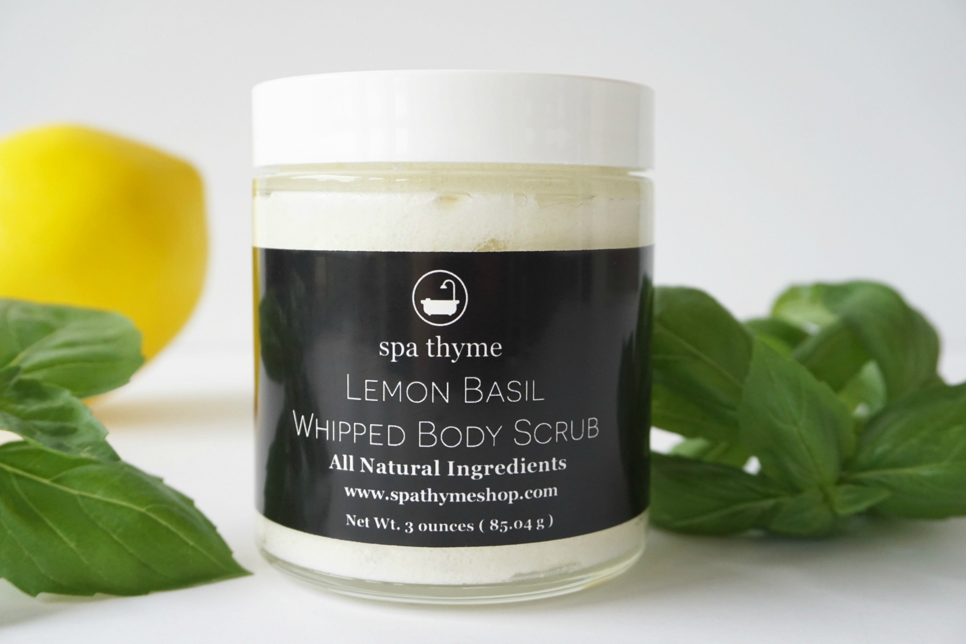 lemon basil body scrub - whipped body scrub - citrus body scrub - uplifting body scrub - earthy gifts