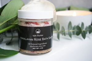 All Natural Himalayan Rose Bath Salts- bath salts - rose bath soak - wedding gift - epsom bath salts