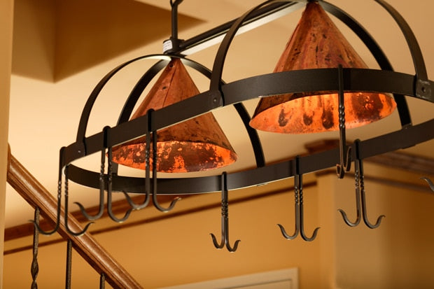 Dutch Oval Iron Lighted Pot Rack with Copper Shade - Penny's Passion's