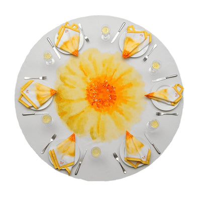 African Daisy Round Tablecloth