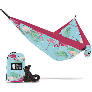 Bear Butt #1 Double Hammock - A Start Up Company With Top Quality Gear At Half The Cost Of The Other Guys (Flamingo Pattern)