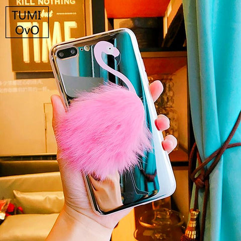 Pink Flamingo Plush Luxury Mirrored Faux Rabbit Hair Case For iPhone