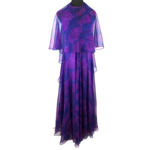 Vintage SAKS Chiffon 70's Halter maxi dress & cape SZ Small