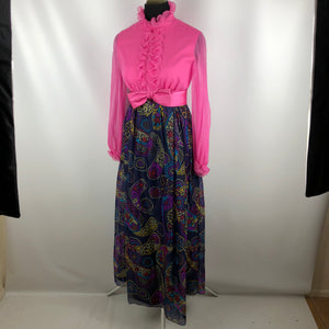 Gorgeous Vintage 60's Chiffon Ruffles Part Dress SZ Medium