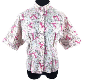 Rad vintage abstract top blouse shirt SZ Med