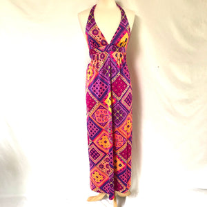 Adorable Vintage 70's Maxi Halter Dress SZ Medium