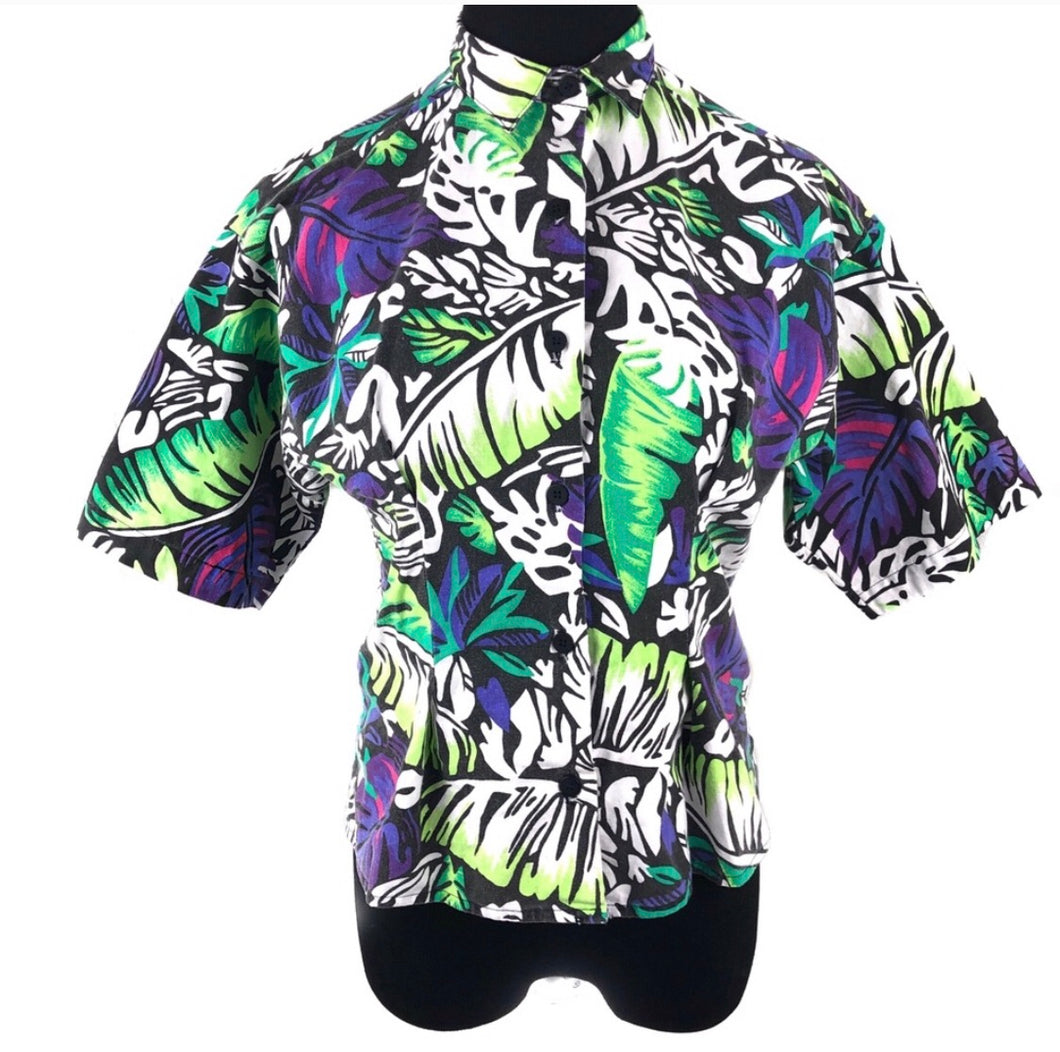 Rad vintage 80's abstract lush shirt blouse SZ Medium