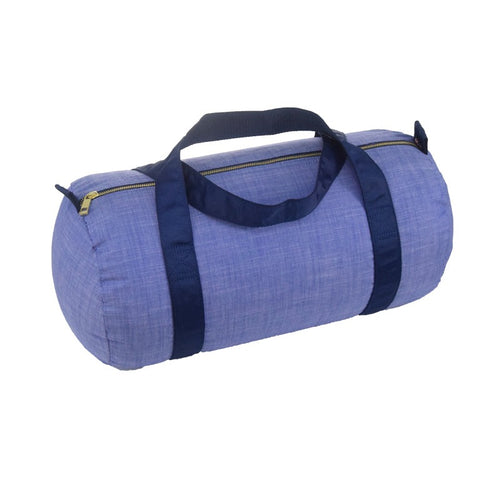 Navy Chambray and Brass Medium Duffel Bag