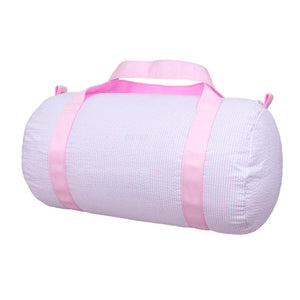 Pink Seersucker Medium Duffel Bag
