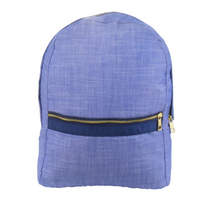 Navy Chambray and Brass Medium Backpack