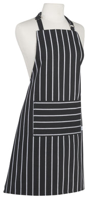 Monogrammed Black Chef Stripe Apron
